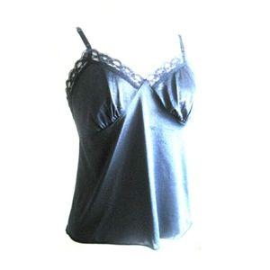 Vintage Navy Blue Satiny Lace Camisole